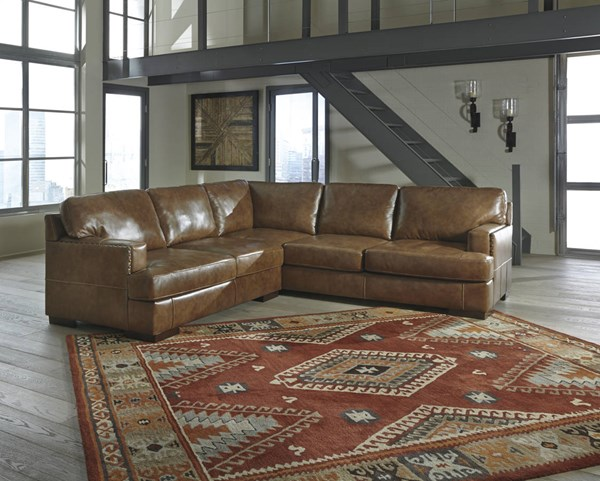 Vincenzo Contemporary Nutmeg Leather Solid Wood RAF Loveseat 3040156