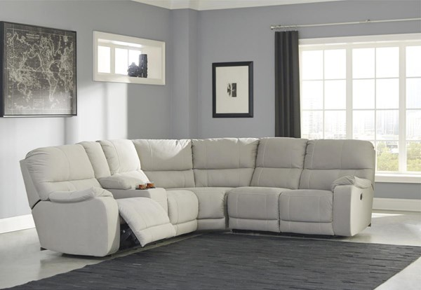 Bohannon Putty Fabric Sectionals W/RAF Reclining Power Loveseat 57401-SEC-S-VAR