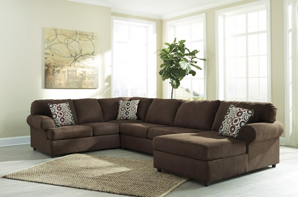 Jayceon Contemporary Java Fabric Sectional W/RAF Corner Chaise 64904-SEC3