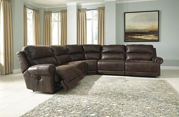 Luttrell Espresso Power Bustle Back Sectional 93101-SEC3