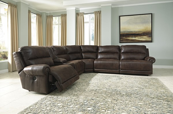 Luttrell Espresso Fabric Metal Sectional W/Console 93101-SEC2