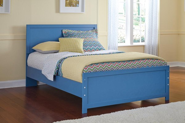 Bronilly Metro Modern Blue Wood Panel Beds B045-BEDS