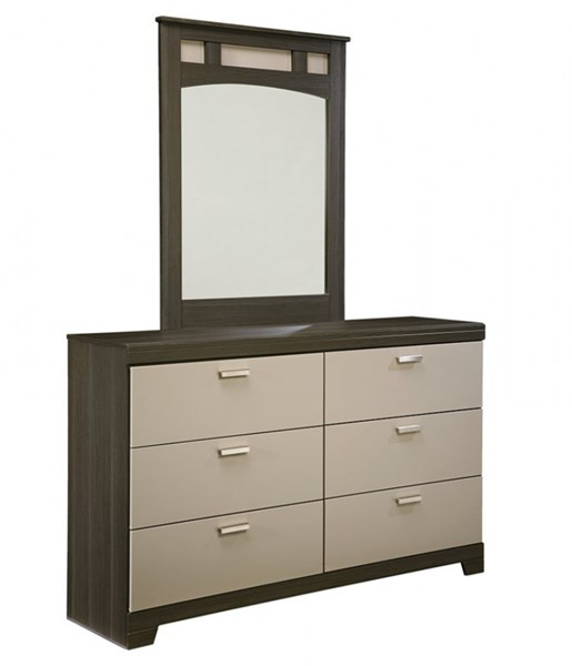 Wellatown Contemporary Gray Wood Dresser And Mirror B142-31-36