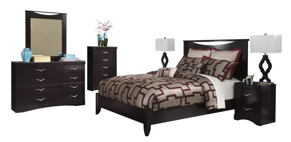 Zanbury Contemporary Merlot Wood 2pc Bedroom Set W/King Panel Bed B217-BR-S3