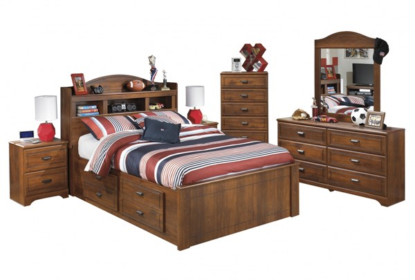 Barchan Brown Wood 2pc Bedroom Set W/Full Bookcase Under Storage Bed B228-FBUSB-S