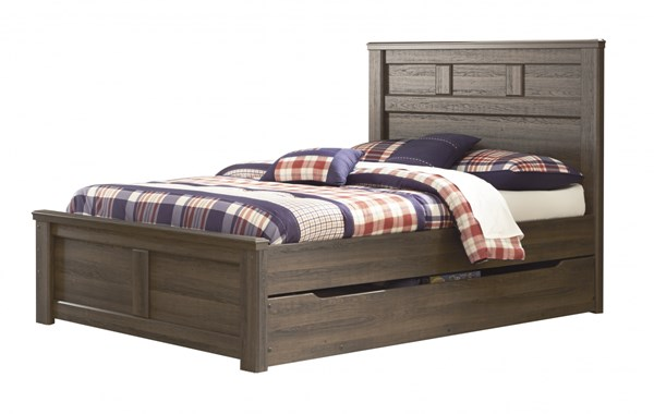 Juararo Dark Brown Wood Full Panel Bed W/Under Bed Storage B251-87-FUB