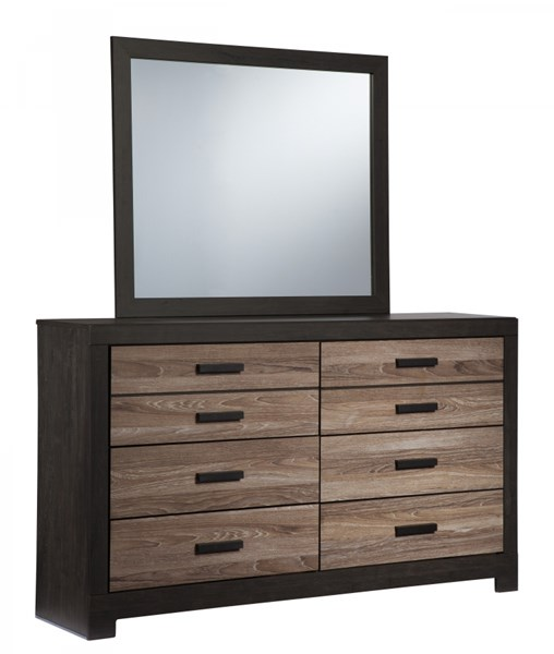 Harlinton Contemporary Warm Gray Charcoal Wood Dresser And Mirror B325-DRMR