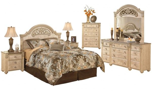 Saveaha Light Brown Wood Marble 2pc Bedroom Set W/Queen Poster Bed B346-BR-S1