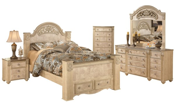 Saveaha Light Brown Wood 2pc Bedroom Set W Queen Poster Storage Bed The Classy Home