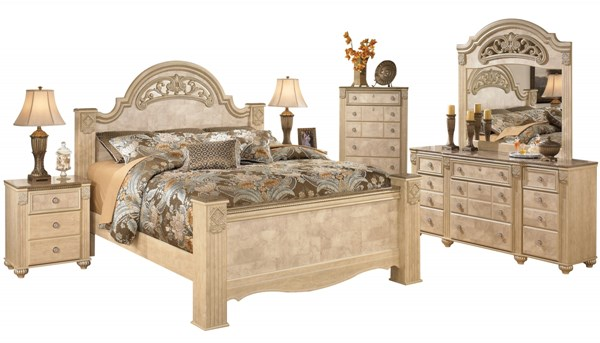 Saveaha Light Brown Wood Marble 2pc Bedroom Set W/King Poster Bed B346-BR-S2