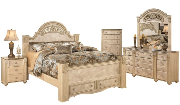 Saveaha Light Brown Wood 2pc Bedroom Set W/King Poster Storage Bed B346-BR-S4