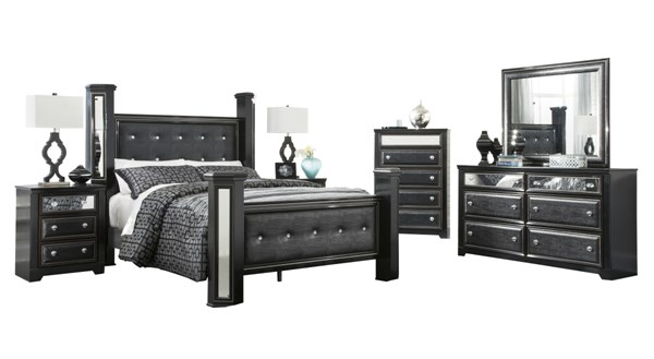Alamadyre Black Wood 2pc Bedroom Set W/Queen Upholstered Poster Bed B364-61-POQB-1