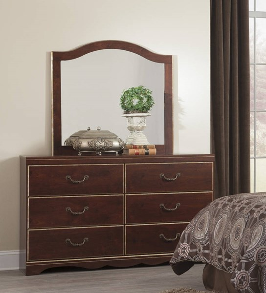 Chanlyn Traditional Reddish Brown Wood Glass Bedroom Mirror B409-36