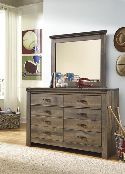Trinell Vintage Casual Brown Dresser And Mirror W/o Fireplace B446-DRMR1