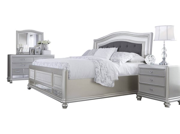 Coralayne Silver Wood Glass 2pc Bedroom Set W/King Panel Bed B650-BR-S2