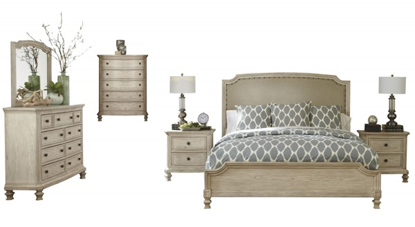 Demarlos White Wood 2pc Bedroom Set W/Queen Panel Upholstered Bed B693-77-QB-1
