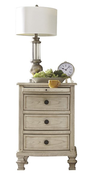 Demarlos Parchment White Wood Three Drawer  Night Stand B693-93