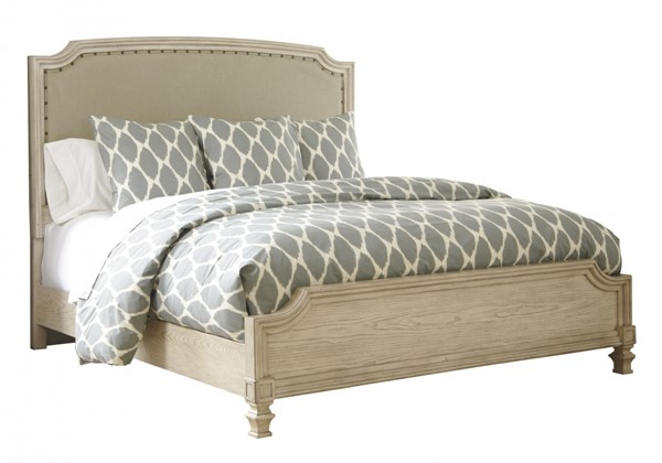 Demarlos Parchment White Wood Queen Panel Upholstered Bed B693-77-QB