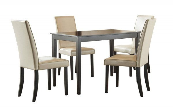 Kimonte Contemporary Ivory Faux Leather Wood 5pc Dining Room Set D250-DR-RECT-S1
