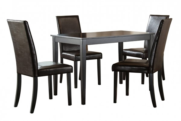 Kimonte Contemporary Dark Brown 5pc Rectangular Dining Room Set D250-DR-RECT-S2