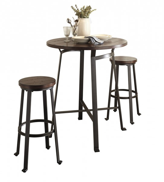 Challiman Vintage Casual Wood Metal Round 3pc Bar Set w/Bar Table D307-12-BAR-S1