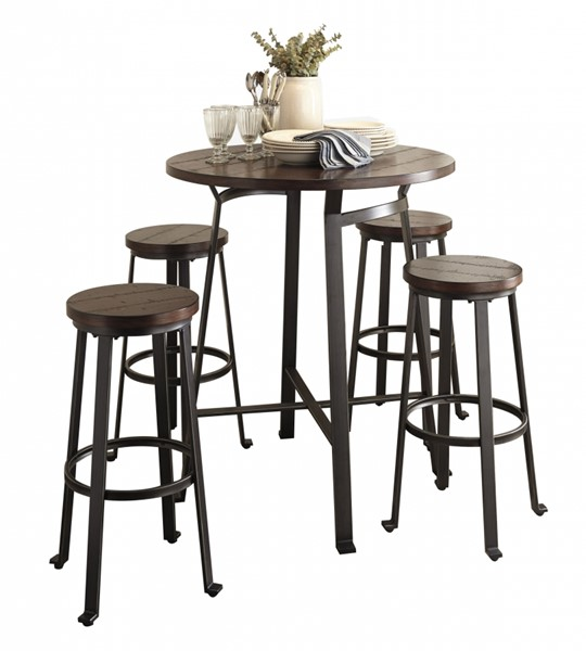 Challiman Brown Wood Metal Round 5pc Bar Set w/Bar Table D307-12-BAR-S2