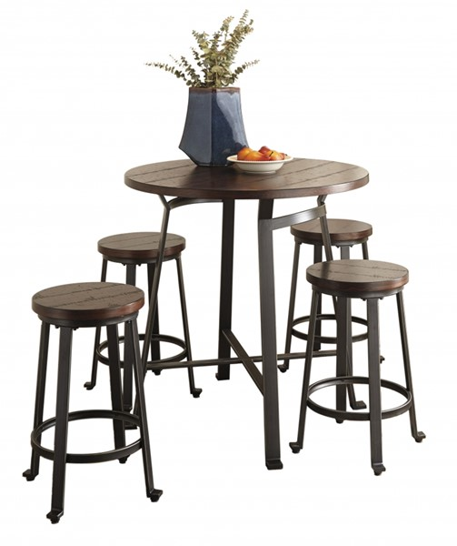 Challiman Brown Wood Metal Round 5pc Counter Set D307-13-BAR-S2