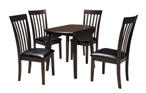 Hammis Contemporary Dark Brown Wood 5pc Dining Room Set w/Round Table D310-DR-RND-S1