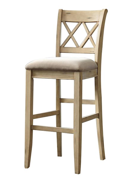 2 Mestler Vintage Casual White Fabric Wood Tall Upholstered Barstools D540-230