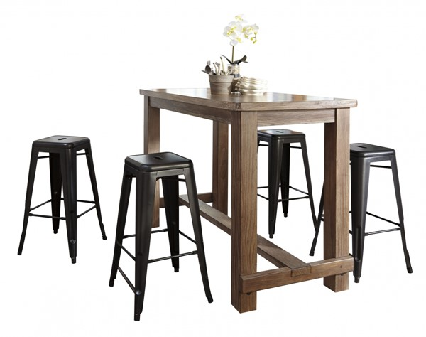 Pinnadel Casual Light Brown Gray Wood Metal 5pc Bar Set D542-BAR-S1