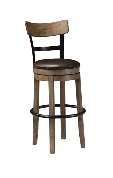 Pinnadel Vintage Casual Wood Faux Leather Tall Upholstered Barstool D542-130