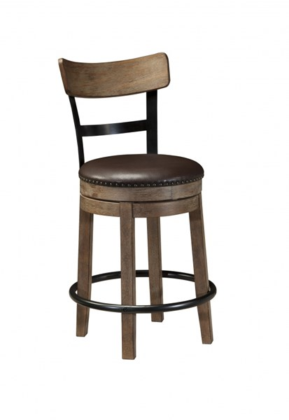 Pinnadel Vintage Casual Wood Faux Leather Upholstered Counter Stool D542-124