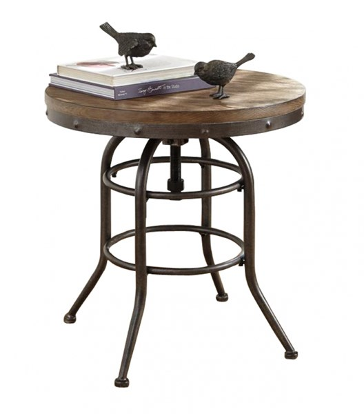 Vennilux Vintage Casual Grayish Brown Wood Round End Table T500-726