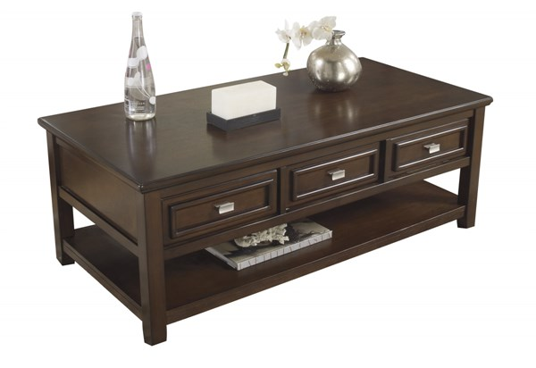 Ashley Furniture Larimer Dark Brown Rectangular Cocktail Table T654-0
