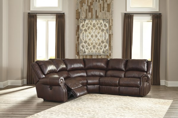 Collinsville Contemporary Chestnut Leather Sectional U72100-LR5
