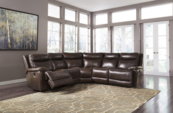 Zaiden Contemporary Antique Faux Leather Sectional W/o Storage Console U75001-SEC4