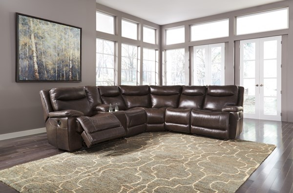 Zaiden Contemporary Antique Faux Leather Sectionals U7500-SEC-VAR4