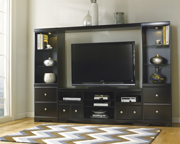 Shay Black Wood Entertainment Center W/o Fireplace W271-68-27-24