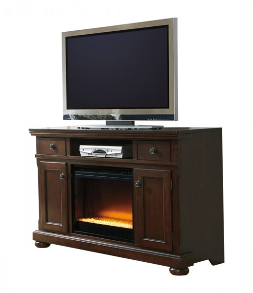Porter Casual Rustic Brown Wood LG TV Stand W/Fireplace W697-120-W100-02