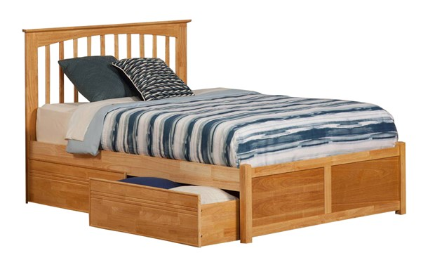 Brooklyn Natural Maple Wood Queen Bed w/Flat Panel Footboard & Drawers AP9042115
