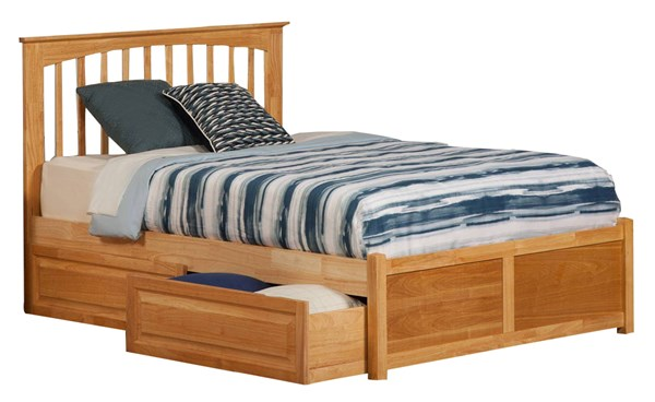 Brooklyn Natural Maple King Bed w/Flat Panel Footboard & Raised Drawer AP9052135