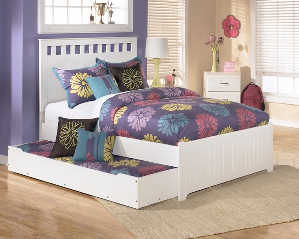 Lulu Casual White  Wood Twin Panel Bed w/Trundle B102-TBS