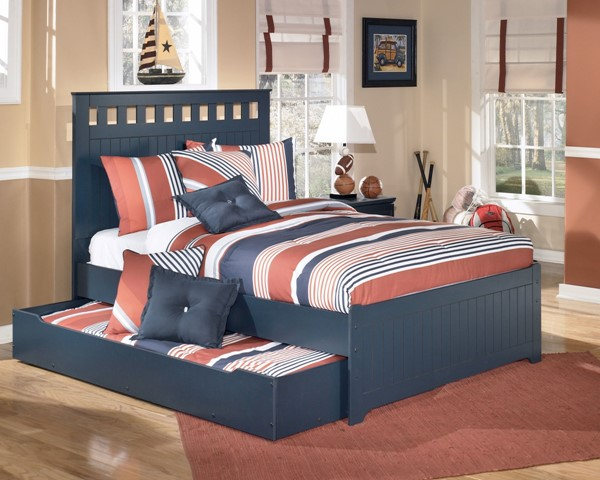 Ashley Furniture Leo Blue Twin Panel Bed With Trundle