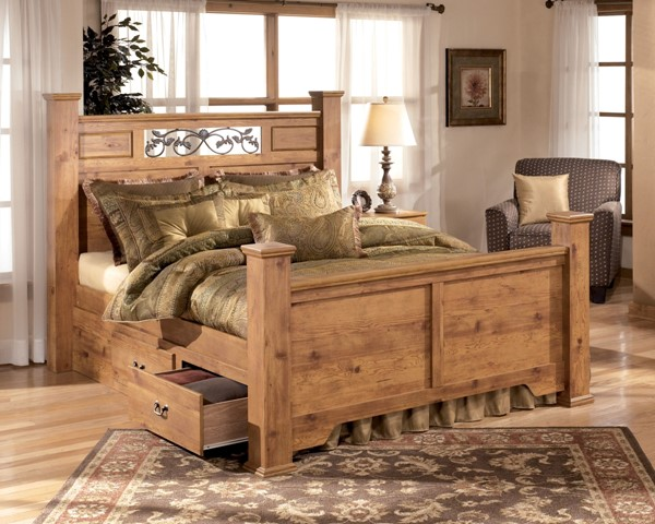 Bittersweet Cottage Replicated Pine Wood King Poster Bed W/Storage B219-KPS