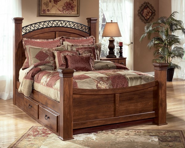 Timberline Traditional Warm Brown Wood King Poster Bed W/Storage B258-KPS