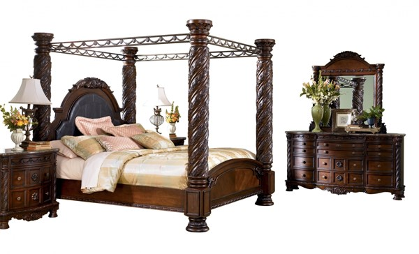 North Shore Brown Wood Glass 2pc Bedroom Set W/King Poster Canopy Bed B553-Set1