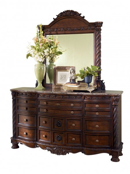 North Shore Traditional Dark Brown Wood Glass Dresser And Mirror B553-DM