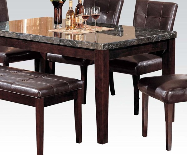 Danville Transitional Black Marble Walnut Wood Dining Table ACM-07058