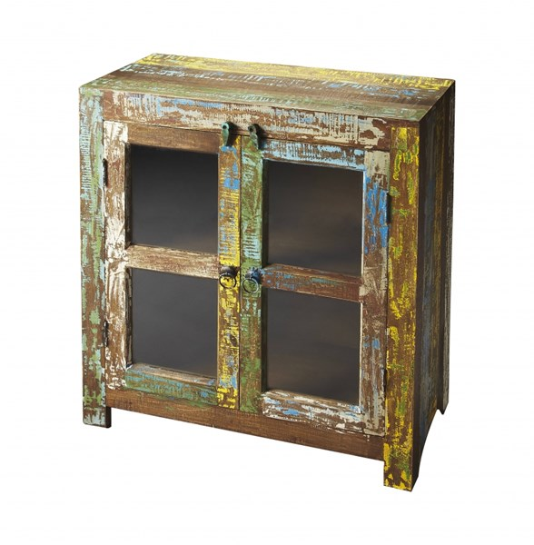 Artifacts Haveli Transitional Assorted Reclaimed Wood Display Cabinet BSF-3381290