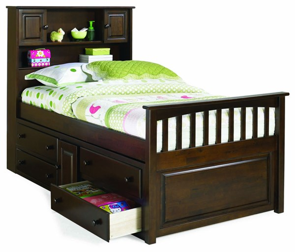 Antique Walnut Solid Wood Twin Bed w/Four Drawers Storage Chest AP8526044